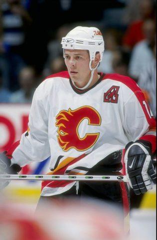 Theoren Fleury #14 of the Calgary Flames