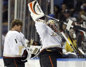 J.S. Giguere's frustrations this season cost him his starting job to Jonas Hiller.