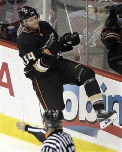 Rookie Stud Bobby Ryan celebrates one of his many goals.