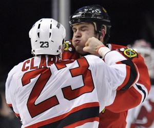 Brent Seabrook obtaining one third of his Gordie Howe Hat Trick Friday