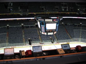 The NHL off-ice Officials booth high above the ice in Nationwide Arena, Columbus (Photo by RG/The Hockey Writers)