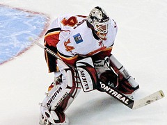 Miikka Kiprusoff is day-to-day with an MCL injury. {Photo: mark6mauno - Flickr}
