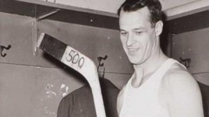 Gordie Howe celebrates his 500th goal.