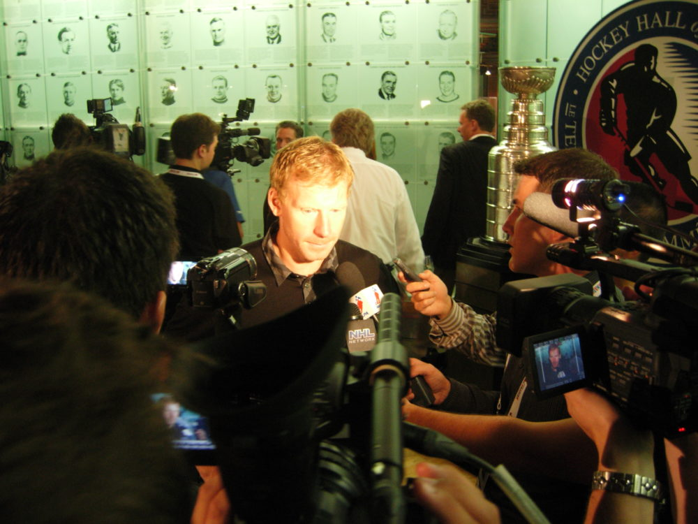 With the Stanley Cup over his shoulder, Senators' forward Daniel Alfredsson discusses the state of the game