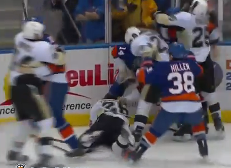 Videos: Brent Johnson Fights Again, Suspensions, Fines, Penguins-Islanders Ends in Mayhem