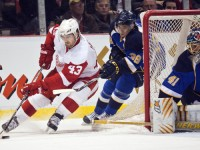Red Wings Darren Helm is part of the stealth youth movement in Detroit; can they keep up with once rivals out of St. Louis? (Icon SMI)