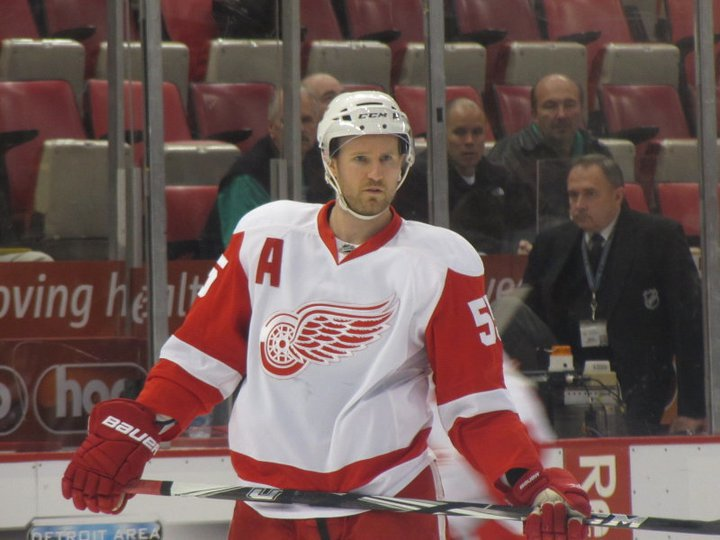 """Anyone else miss this from the game the other night? Niklas Kronwall wore an """"A"""" for the Detroit Red Wings while Kris Draper and Pavel Datsyuk sat out. (Image via Kat)"""