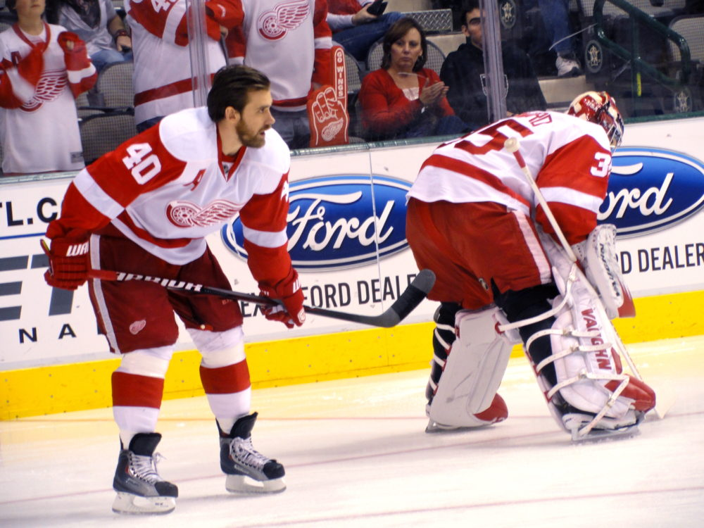 Jimmy Howard and Henrik Zetterberg (Enriquez/Flickr)