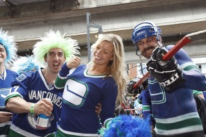 Canucks fans outside Rogers Arena