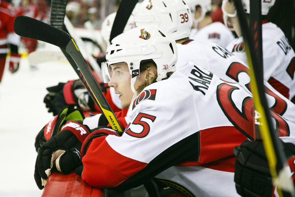 Erik Karlsson was benched in Game 2 against the Penguins (Photo by Andy Martin Jr)