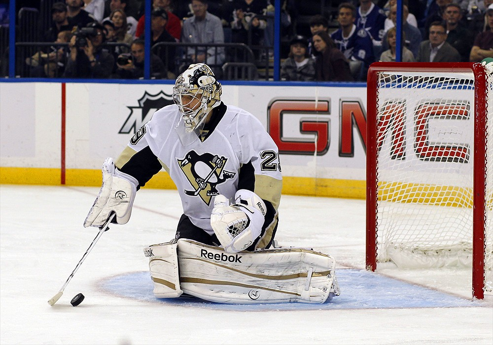Can Pittsburgh Penguins' goalie Marc-Andre Fleury bounce back from two questionable goals to beat the Columbus Blue Jackets? (Cliff Welch/Icon SMI)