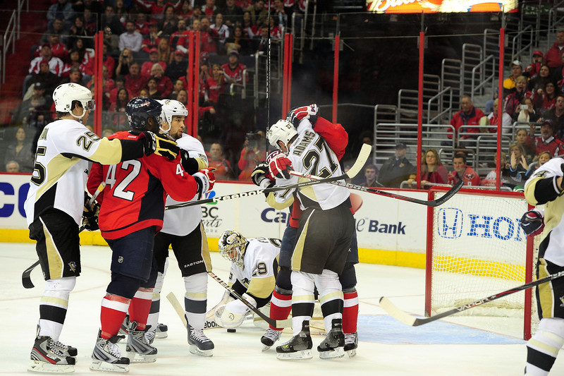 The Penguins need to get tougher in front of Marc-Andre Fleury (Tom Turk/THW)