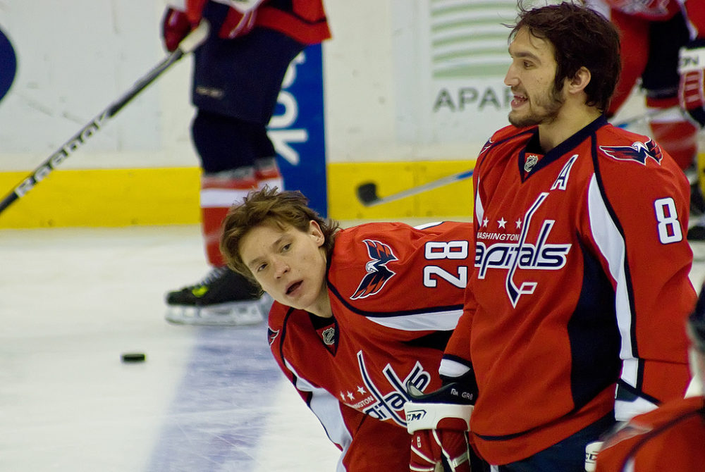 Ovechkin and Semin share a laugh during warmup (Clydeorama.com)