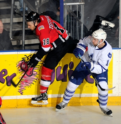 The Toronto Marlies evened up the second round series with a 5-1 win over the Abbotsford Heat (Photo courtesy: SendtoNews)