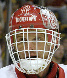 Dominik Hasek in a game in 2007-08 with the Red Wings