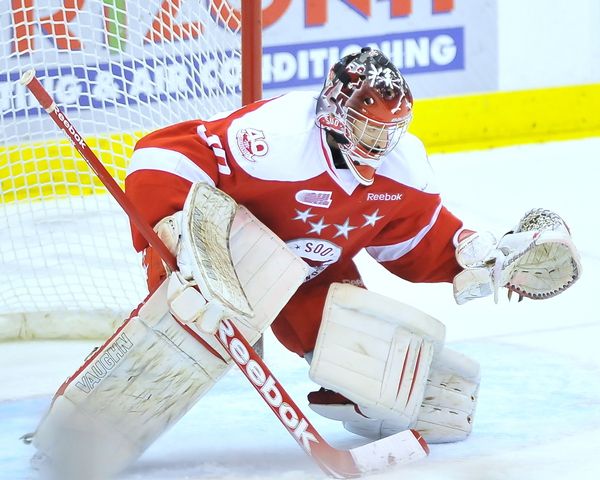 Matthew Murray's tall, lanky physique may be unorthodox for most goaltenders eligible for the 2012 NHL Entry Draft but his mental toughness and intelligence make him a highly-touted prospect.  (OHL Images)