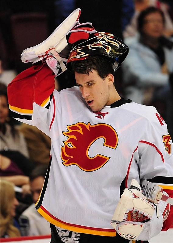 Flames back-up goalie Henrik Karlsson was placed on waivers on Thursday morning. (Anne-Marie Sorvin-US PRESSWIRE)