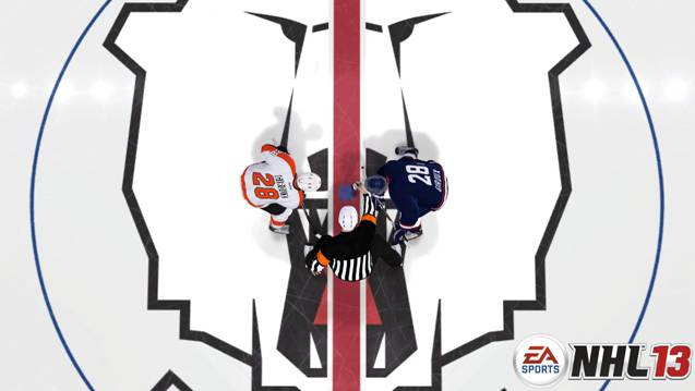 Flyers Forward Claude Giroux takes a faceoff against Eisbaren Berlin Forward Claude Giroux in NHL 13. (EA Sports)