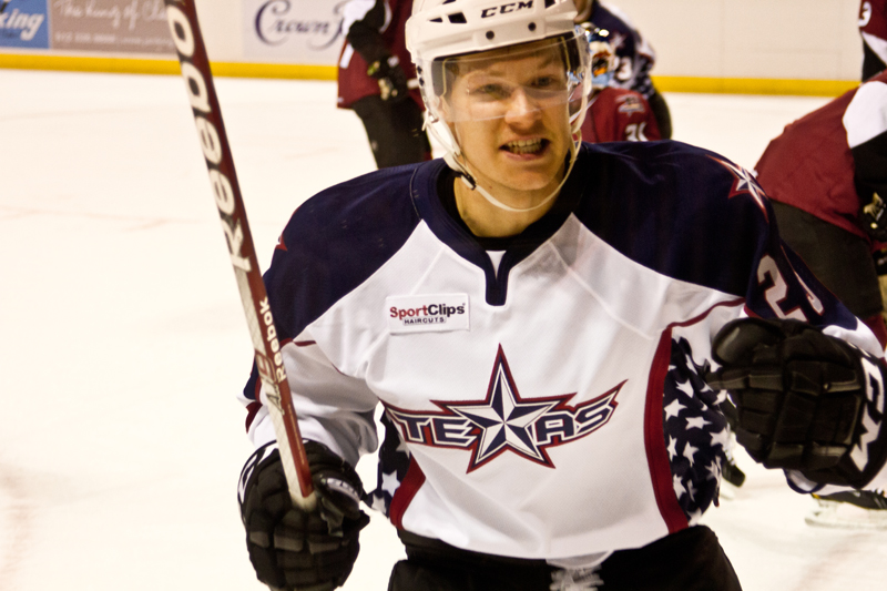 Matt Fraser's late-game heroics helped the Texas Stars generate a point in their 5-4 shootout loss to lake Erie on November 10, 2012 (Image courtesy of the Texas Stars)