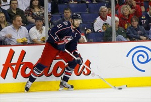 March 20, 2012; Columbus, OH, USA; Columbus Blue Jackets left wing Rick Nash (61) looks to pass against the Chicago Blackhawks during the second period at Nationwide Arena. Mandatory Credit: Russell LaBounty-USA TODAY Sports