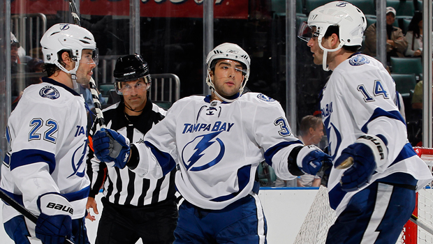 Lightning prospect Cory Conacher, middle, burst onto the AHL scene in 2011-2012 (Joel Auerbach/Getty Images)