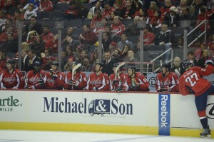 A frustrated Capitals bench at the Verizon Center against the Montreal Canadiens on January 24th, 2013.