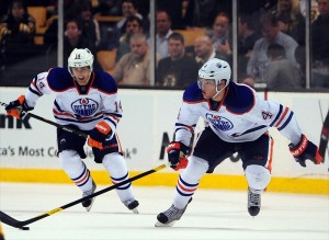 Hall and Eberle are two of Edmonton's young, highly-touted forwards (Michael Ivins-USA TODAY Sports)