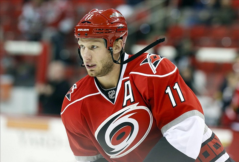 Jordan Staal will be back at the CONSOL Energy Center Tuesday night facing off against his old mates. (James Guillory-USA TODAY Sports)