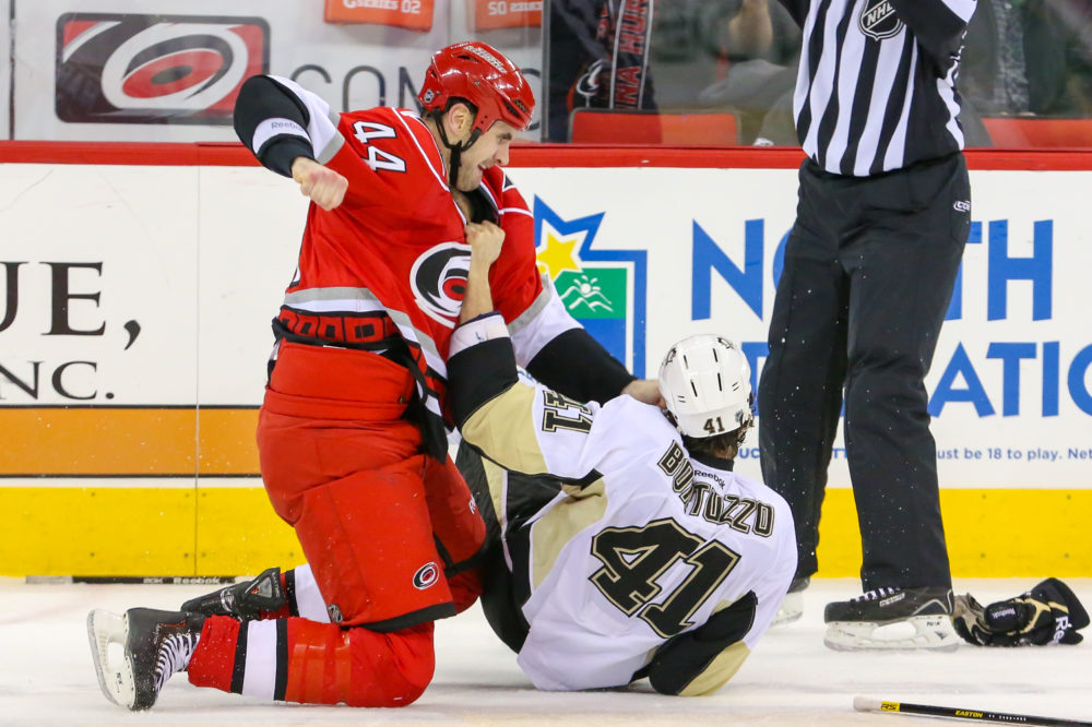 Robert Bortuzzo was willing to do anything to stay in the lineup. (Photo by Andy Martin Jr)