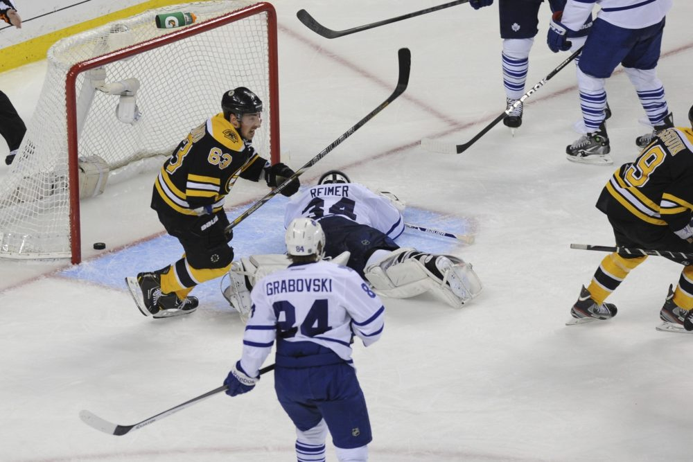 Allowing this overtime goal to Patrice Bergeron during the first round of the 2013 NHL Stanley Cup Playoffs was the lowlight of James Reimer's time in Toronto (Bob DeChiara-USA TODAY Sports)