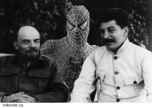 Spidey with Lenin and Stalin
