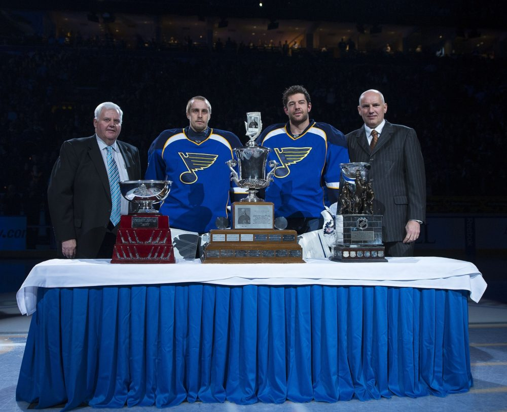 Ken Hitchcock, Jaroslav Halak, Brian Elliott and Doug Armstrong were honored with awards after the 2011-12 season (Scott Rovak-USA TODAY Sports)