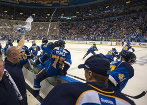The Blues celebrate their Game 1 victory Tuesday night (Scott Rovak-USA TODAY Sports)