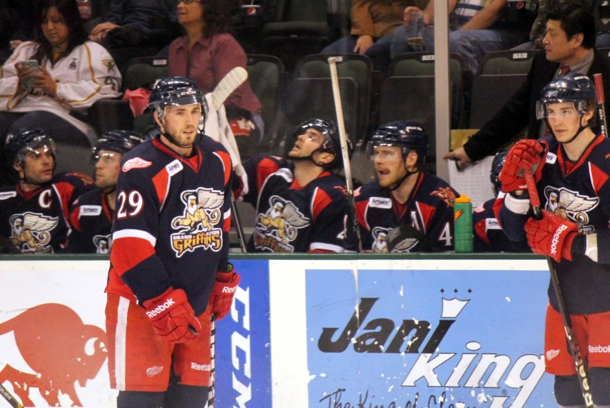 Grand Rapids Griffins bench (Ross Bonander / THW)