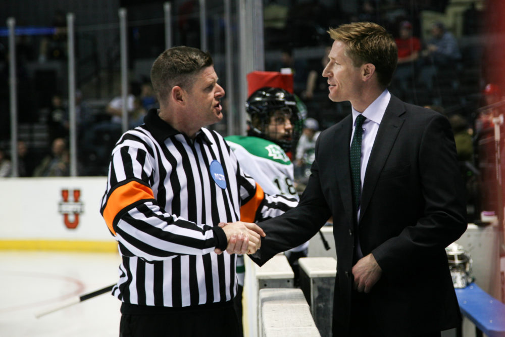 UND head coach Dave Hakstol UND Athletics/Kory Wallen