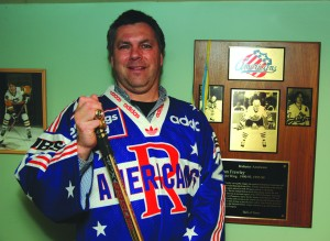 Dan Frawley played for the Rochester Americans for six seasons and was part of the 1996 Spengler Cup team. He proudly displays his jersey from the tournament. (Darren Matte/THW)