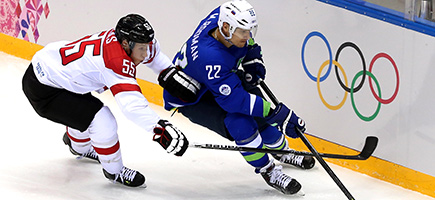 Team Austria plays against Slovenia in Sochi 2014