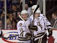 The Hershey Bears celebrate after a goal against the St. John's IceCaps (stat19/flickr)