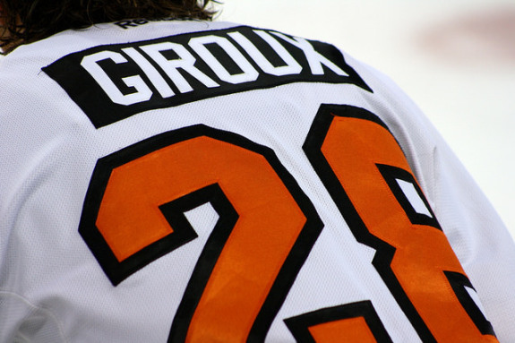 Claude Giroux added two assists in a wild night that featured a Gordy Howe hat trick from R.J. Umberger.