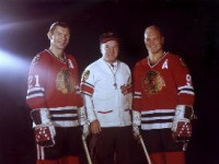 Stan Mikita, left, and Bobby Hull, right, had five goals between them