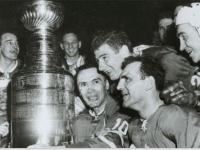 Leafs celebrate the 1964 Cup win.
