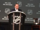 Commissioner Gary Bettman addresses the media at Nationwide Arena in Columbus. (Credit: Alex Busch/Staff)