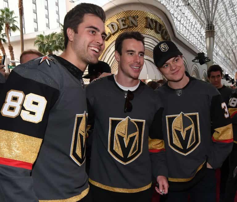 Alex Tuch, Reilly Smith and Reid Duke