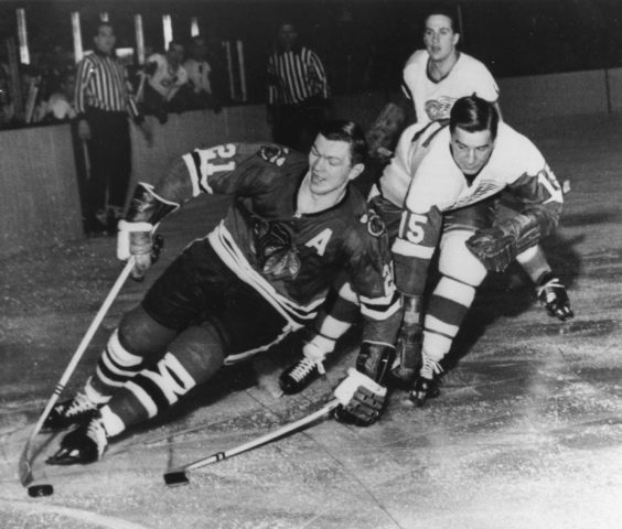 Chicago Blackhawks Stan Mikita Detroit Red Wings' Ted Lindsay