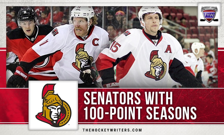 100-point seasons Ottawa Senators Daniel Alfredsson Dany Heatley